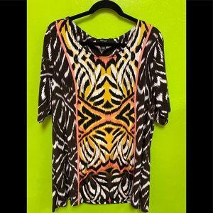 Animal Print Top Short Sleeve Tunic Style&Co 2X
